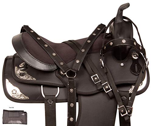 Acerugs Beautiful Western Pleasure Trail Barrel Racing Show Horse Saddle Free TACK Set PAD Silver Crystals (Black, 16)