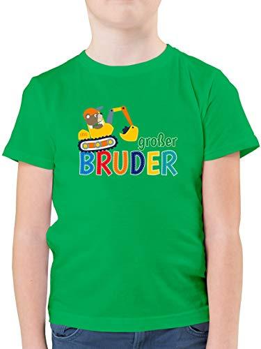 Geschwisterliebe Kind - Großer Bruder Bagger - 104 (3/4 Jahre) - Grün - ich werde großer Bruder 2019 - F130K - Kinder Tshirts und T-Shirt für Jungen