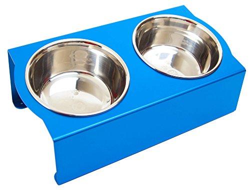 MATUMI (マツミ) アワーズ フードボウルテーブル Sサイズ ブルー 日本製 餌入れ 食器 食器台 足腰の負担を軽減 アルマイト処理 S サイズ