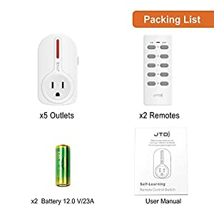 JTD 5 Pack Remote Control Outlet Switch 2nd Generation Energy Saving Auto-programmable Wireless Electrical Plug Switch for Household Appliances Lighting & Electrical Equipment (2 Remotes)