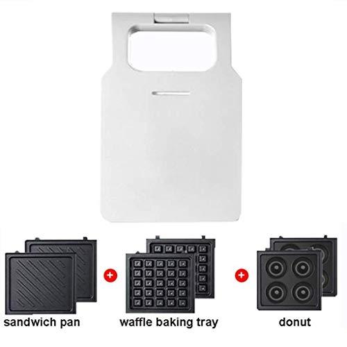 LXTIN Máquina de Desayuno 3 en 1 para Waffles Sandwich Donuts, máquina de sándwich multifunción para Hacer Pan casero con 3 bandejas para Hornear, fácil de Limpiar, 600W, Blanco (Color: Rojo)