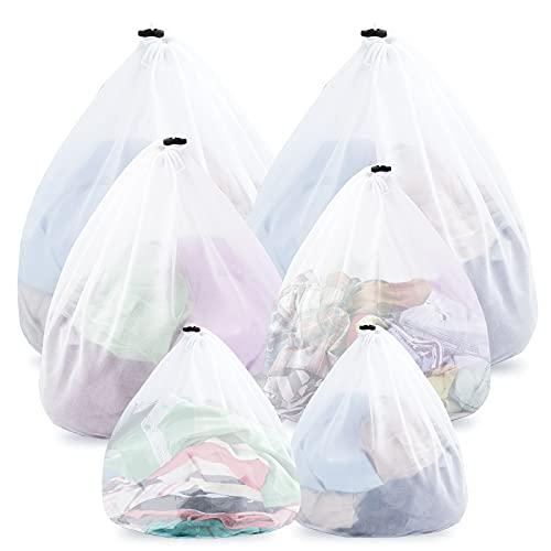 Likorlove 6 bolsas de lavandería para lavadora con tope de cordón, bolsas de lavandería para ropa de bebé, ropa interior, red de lavado, reutilizables, con agujero hermético
