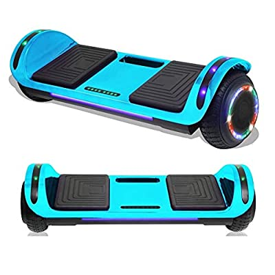 TPS Electric Hoverboard Self Balancing Scooter with Charger for Kids and Adults Built-in Speaker and LED Lights - Safety Certified (Chrome Blue w/Travel Bag)