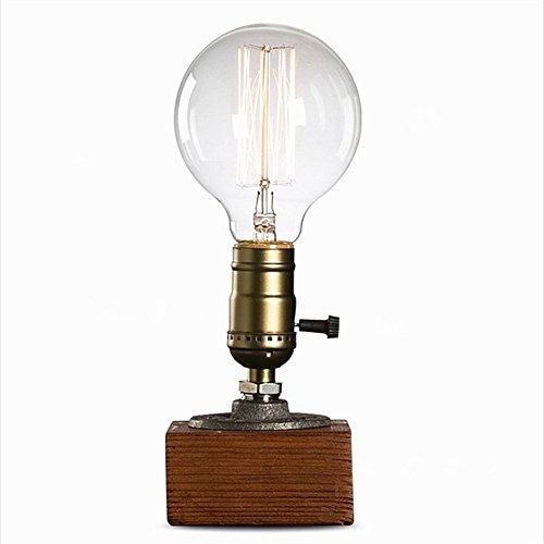 icase4u® Deutscher Stecker Loft retro T45 Edison Glühbirne Weinlese leuchte Tischleuchte Bar deko Nachttischlampe Tisch Lampe Dimmbar wasserrohr lampe Licht schreibtischlampe (Glühbirne Ohne)