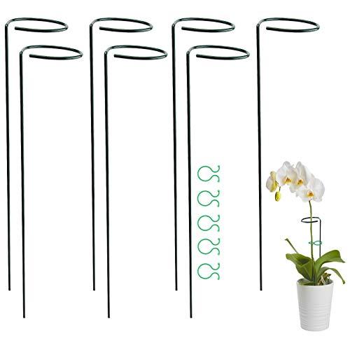 TOYMIS 7 Stück 40cm Pflanzenstütze Staudenhalter mit 20 Stück Pflanzenclips, Strauchstütze Stahl Garden Single Stem Stützring für Pflanzen, Blume, Rose, Tomaten, Lilie, Pfingstrose