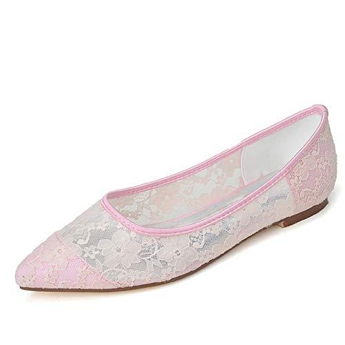 QXue Zapatos de novia de bailarina de punta plana para mujer, tallas...