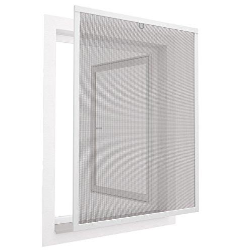 Insektenschutz Fenster Comfort 100x120 cm mit Alurahmen in Weiß - Fliegengitter aus Fiberglas - kürzbarer Spannrahmen ohne Bohren & Schrauben mit Dichtungsbürste
