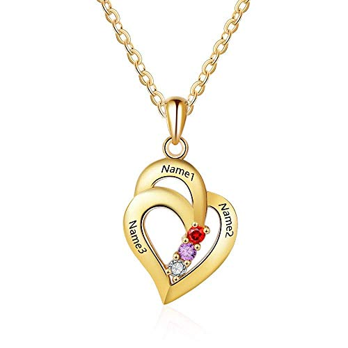 Grand Made Peesonalized Mothers Name Necklace with 3 Simulated Birthstones Pendant Relationship Heart Name Necklace for 3 Personalized Necklace for Ladies (Gold, Silber)