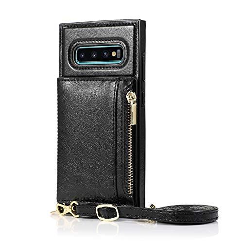 FHZXHY Galaxy S10 - Funda tipo cartera para Samsung Galaxy S10, diseño de cadena cruzada, color negro