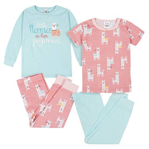 Gerber Baby Girls' 4-Piece Pajama Set, Little Llama Pink, 18 Months