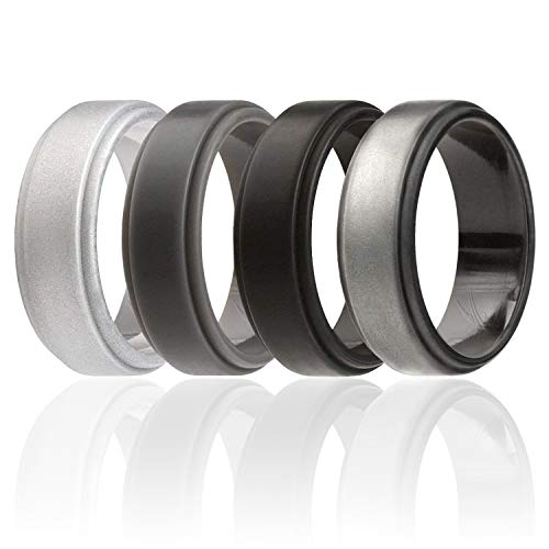 ROQ Silicone Wedding Ring For Men, 4 Pack Silicone Rubber Band Step Edge - Black, Grey, Black Camo, Silver - Size 15