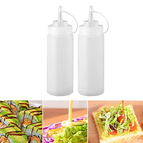 Gaosheng 2 Unidades 12oz 360 ml Squeeze Condiment Botella con Tapa dispensador de Especias para Ketchup, Mostaza, Mayo, Salsas Calientes, Aceite de Oliva, Salsa Botella