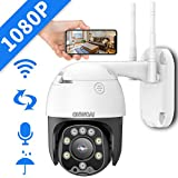 PTZ Camera Outdoor, Wireless Security Dome Camera 1080P, WiFi Pan Tilt CCTV Camera for Home,Indoor Rotating Surveillance Camera,Two-Way Audio,Night Vision,IP66 Waterproof Video Cam.