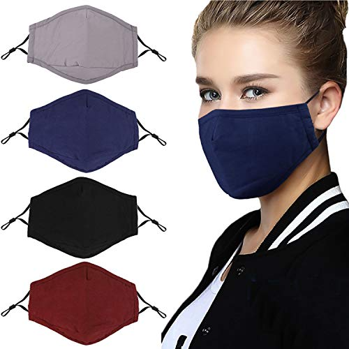 Anjetan 4PCS Mouth Cover Adjustable Dust Proof Face Cover Mouth Cover with Filter