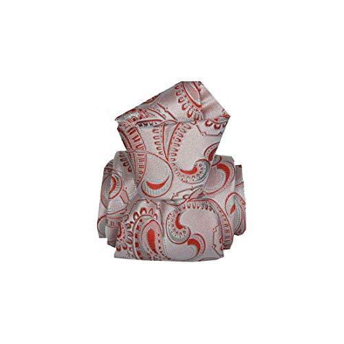 Segni et Disegni. Cravate artisanale. Galatina, Soie. Rouge, Paisley. Fabriqué en Italie.