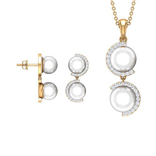 Juego de joyas de perlas y diamantes de 20,50 quilates, juego de pendientes colgantes de oro (7 mm, 8 mm perla redonda de agua dulce) blanco