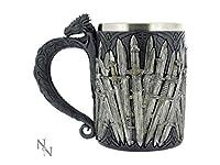 Un style médiéval chope Game of Thrones–épées design Mesure 5.1/5,1cm de haut x 10,2cm de diamètre Fabriqué à partir de résine avec un insert en acier inoxydable coulé à froid