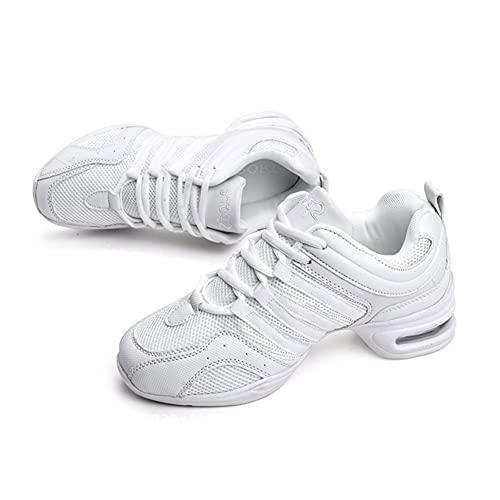 H/A Zapatillas de danza para mujer, zapatos de jazz, con cordones para salón de baile al aire libre, suela dividida, ligera, transpirable y con plataforma, color Blanco, talla 39 EU