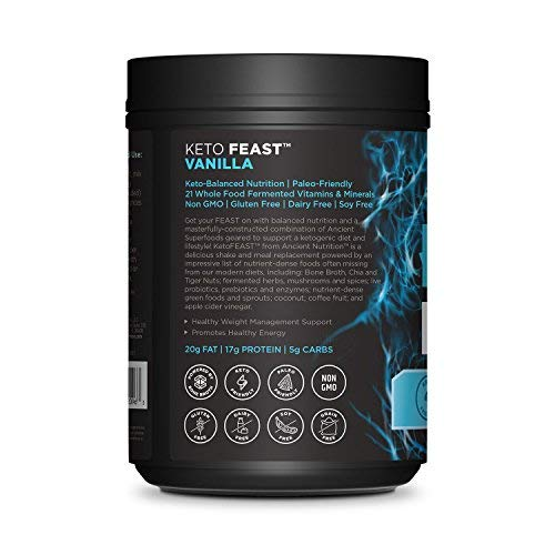 Ancient Nutrition KetoFEAST Powder, Vanilla, 15 Servings - Keto Diet Meal Replacement with Ketogenic Superfoods for Ketosis and Energy 2