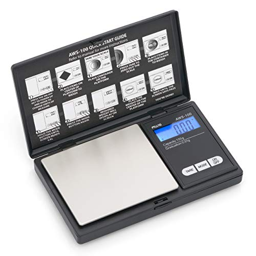 AWS Series Digital Pocket Weight Scale 100g x 0.01g, (Black), AWS-100-CAL - Calibration Weight included