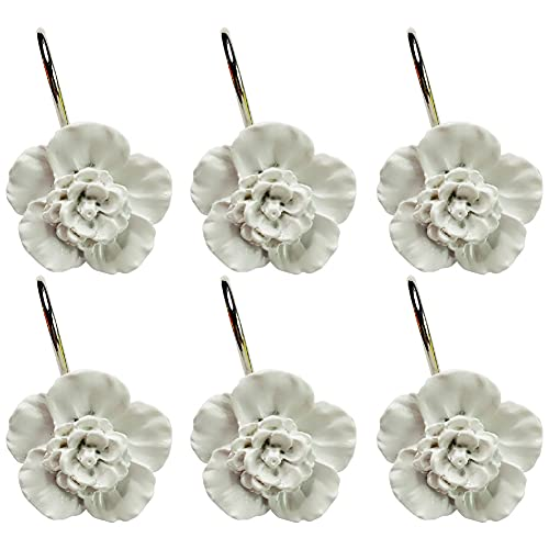 Twofishes White Flower Shower Curtain Hooks Set of 12 Home Fashion Decorative Rust Proof White Flower Shower Curtain Hooks