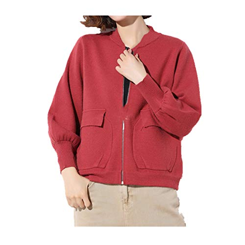 N\P Herbst Lose Oversized Baseball Jacke Damen Strickpullover Mantel Gr. Medium, gules