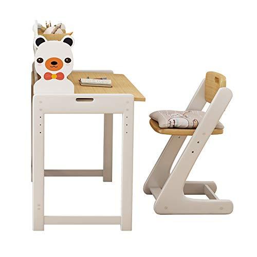 MOMIN Kindersitzgruppe Einfaches Massivholz Verstellbare Kinder Schreibtisch und Stuhl Set Schlafzimmer Studenten Schreibtisch for Junge Mädchen Schublade Bleistift Slot Kids