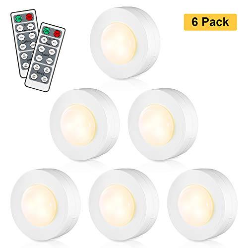 KOHREE Schrankleuchten LED Schrankbeleuchtung 6er mit Fernbedienung Treppen Licht Nachtlicht Unterbauleuchte Vitrinenbeleuchtung Batteriebetrieben für Schlafzimmer,Kleiderschrank,Küche, 4000K Warmweiß