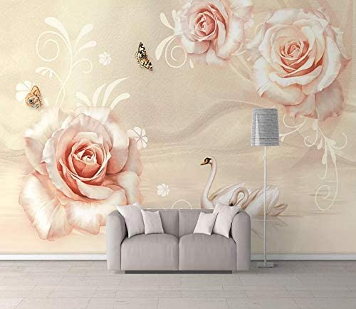 3D Flower Pink Rose Self-adhesive Removable Wallpaper Wall Mural Sticker