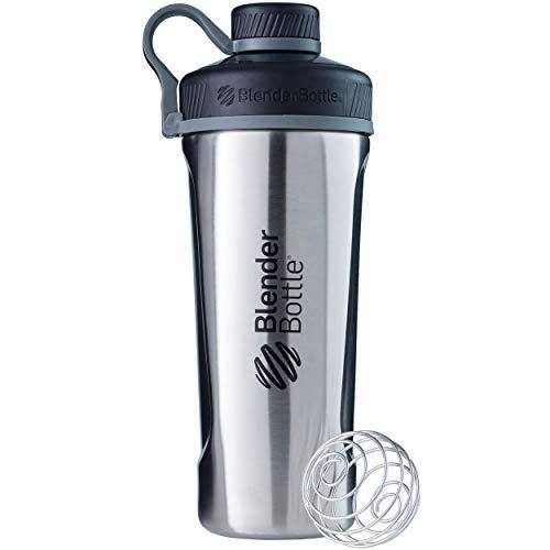 BlenderBottle Radian Edelstahl Trinkflasche, Thermoflasche mit BlenderBall, geeignet als Wasserflasche, Protein Shaker und Fitness Shaker, BPA frei, Doppelwandig, Vakuum isoliert - edelstahl (770ml)