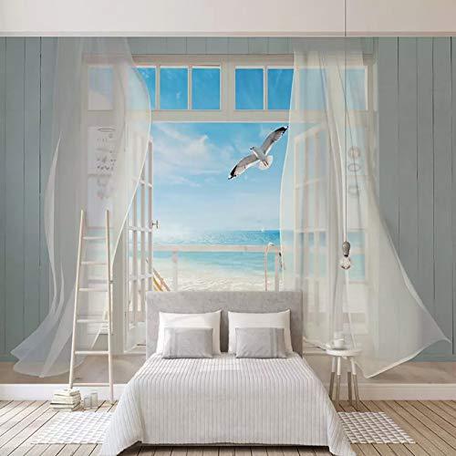 Fototapete 3D Stereo Meerblick außerhalb des Fensters Wandbilder Wohnzimmer Wohnkultur Räumliche Erweiterung Wandmalerei 3D Fresken一250X175cm