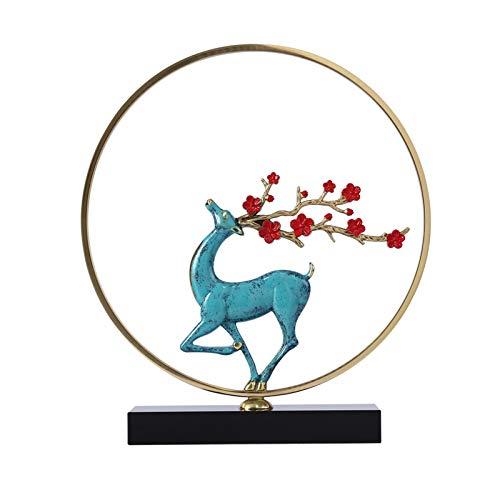 Xiaoli Figurillas Decorativas Chino Ciervo de Cobre Puro Adornos de la Sala de Estar de Alta Gama Estatua de Ciervo Estatua de la televisión Entrada Moderna luz Decoraciones de Lujo Feng Shui St