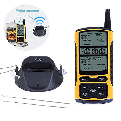 Wireless Meat Thermometer Bbq Thermometer Digital Bbq Cooking with Dual Probes Timer Alarm Monitor 3-5s Best Ultra Fast Instant Read Waterproof for Cooking Smoker Thermometer for Kitchen Oven Food