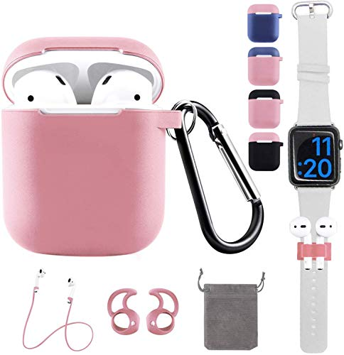 Airpods Cover Sleeve, REOTECH Airpods Accessories Set with Ear Hook, Watch Band Holder and Airpods Keychain Strap 6 in 1 Protective Ultra-Thin Silicone Skin Best Kit for Apple AirPods1/2 Charging Pink