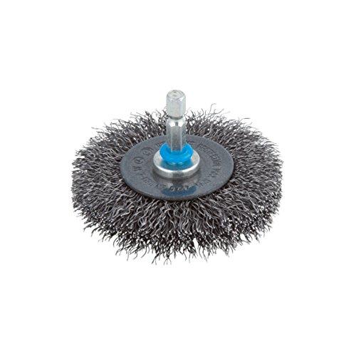 Wolfcraft 2100000 Brosse métal circulaire torsadé Tige 6 mm Diamètre 75 x 10 mm,argent