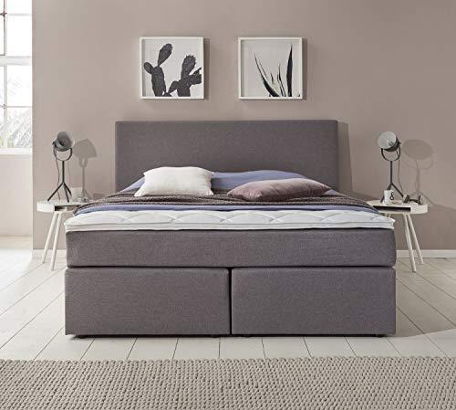 Furniture for Friends Möbelfreude® Boxspringbett Benno | 140x200 cm Hellgrau H2 | mit hochwertiger Bonell Federkernmatratze, Komfortschaum-Topper