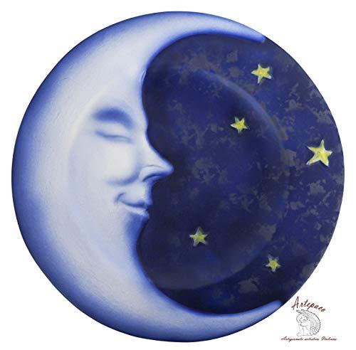 ARTEPACO - Piatto da Parete Luna, Decorazione Casa, in Ceramica, Abbellimento Casa e Giardino, Diametro 25 cm