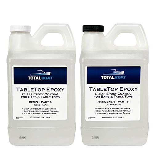 TotalBoat - Epoxy Resin Crystal Clear - 1 Gallon Epoxy Resin & Hardener Kit for Bar Tops, Table Tops & Countertops | Pro Epoxy Coating for Wood, Concrete, Art