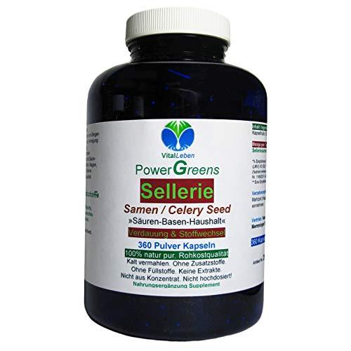 Sellerie Samen Celery Seed nach Hildegard von Bingen 360 Pulver Kapseln. SÄURE BASEN HAUSHALT Verdauung & Stoffwechsel NATUR pur - OHNE ZUSAZSTOFFE. 26600-360