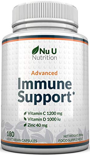 Immune Support - Premium Immune Booster Supplement with Vitamin C and Zinc Plus Vitamin D3 180 Vegetarian Capsules (3 Month Supply) - Made in The UK by Nu U Nutrition