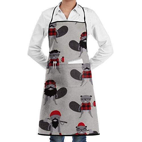 DayToy Schürze Kochschürze Küchenschürze Grillschürze Burly Beavers Flanell Collage EisenSchürze zum Backen Garten Restaurant Grill mit 2 Taschen 20,5 x 28,4 Zoll