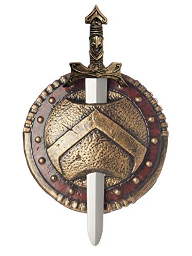 Combat Shield And Sword, Red/Gold, One Size Costume Accessory