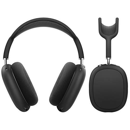 MoKo Funda Protectora Compatible con AirPods MAX, [2 PZS] Bolsa de Almacenamiento de Silicona para Auriculares, Estuche Rígido Absorción de Golpes para Transportar Headphone, Negro & Gris Espacial