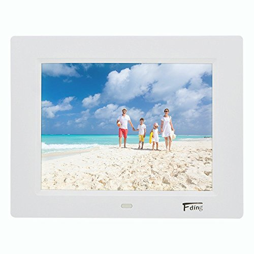 Digital Picture Frame 8 Inch Hi-Res LED Digital Photo Frame with Motion Sensor, Screen Music Video Player/Alarm/Calendar with Remote Controler& 8 GB SD Card-White Digital Frames Picture