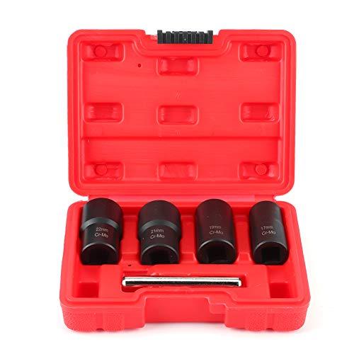 Fydun Retire la tuerca de la rueda de la herramienta 5 unids/set removedor de bloqueo de tuerca dañada Juego de barras rectas de enchufe giratorio de tamaño de unidad de 1/2 pulgada