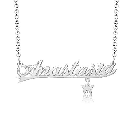 Custom Name Necklace Personalized Name Plate Necklace for Women 925 Silver Necklace