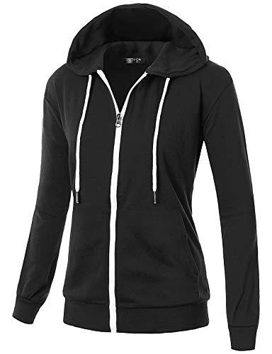 GIVON Womens Comfortable Long Sleeve Lightweight Zip-up Hoodie with Kanga Pocket/DCF200-BLACK-M