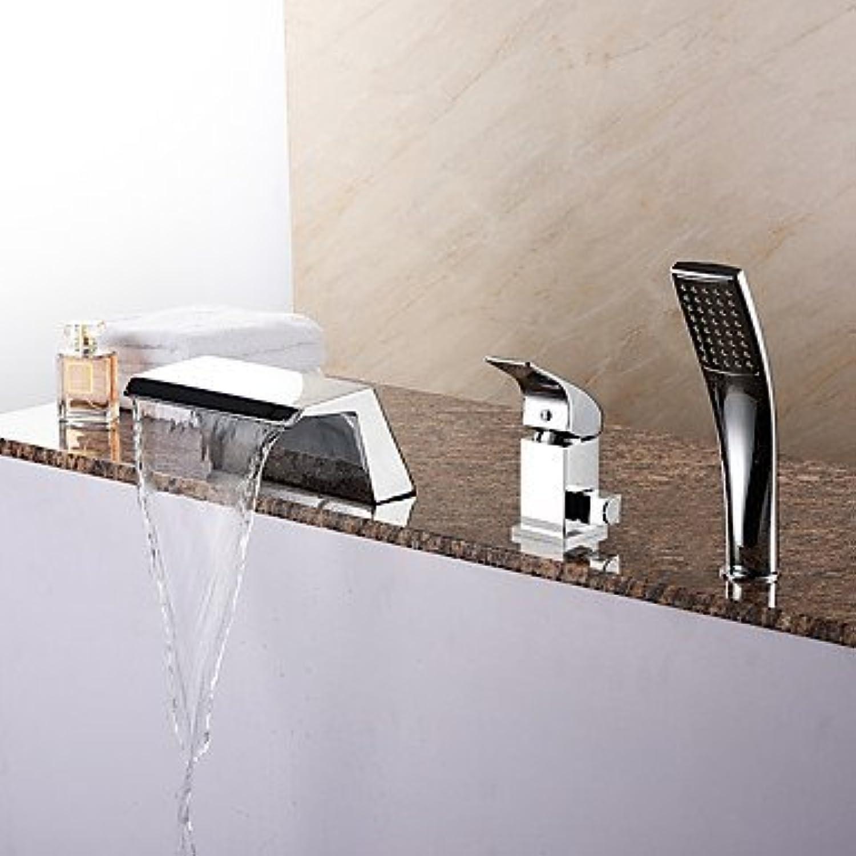 YI KUI Badewannenarmaturen Moderne Badewanne Wasserfall Handbrause für Chrome Badewanne Wasserhahn mit Keramik entil 1-Handle-3-Lcher enthalten.