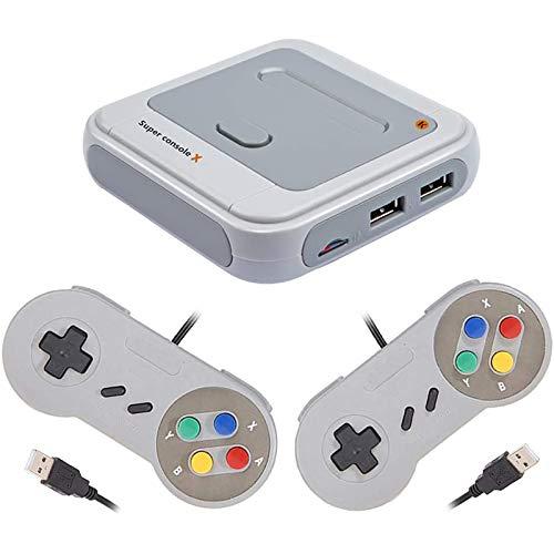 Bias&Belief Consola de Videojuegos Super Console X con 2 Asas con Cable,Incorporada En Más de 33000+ Juegos,Compatible con Salida HDMI/AV,Compatible con 4 Jugadores,64g