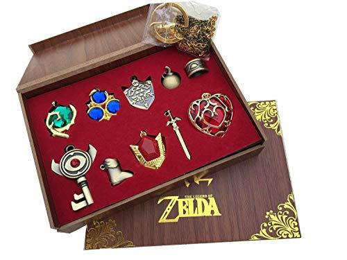 Dirgee 2015 Nuevo Zelda Twilight Princess y Trifuerza hyliano Escudo y el Anillo de Llave Maestra Espada Leyenda Serie/Collar/joyería en Caja de Madera (Rojo -10 Conjuntos) (Color : Red 10 Sets)